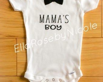 Baby Onesie, Bodysuit, Mama's Boy, Bow Tie, Mother's Day, Baby Boy Outfit, Baby Boy Gift, Baby Gift