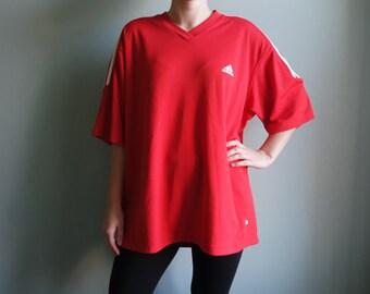 Red ADIDAS Sport Tshirt Adidas Activewear Extra Large Shirt Adidas shirt Three stripes Red Adidas T Shirt Large Adidas shirt