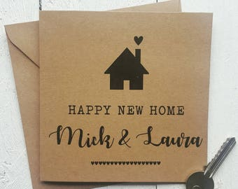 New Home card - Personalised new house card - moving house - handmade - recycled card - first house - new home gift - happy new home card