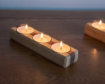 Set of 3 Solid Wood Tea Light Candle Holders
