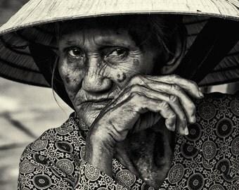 Old lady photograph, vietnam lady, travel photograph, old vietnamese lady photograph, wall art, home decor, fine art, black and white