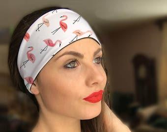 Flamingo Headband, Pink and White Headband, Fitness Headband, Thin Headband, Wide Headband, Yoga Headband, Adult Headband, Turban Headband
