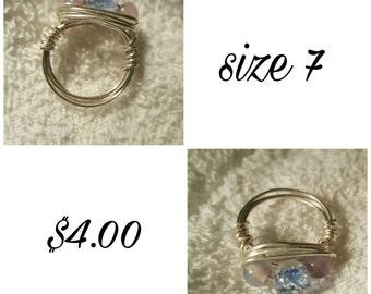 Pastel bead cluster ring