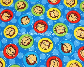 hz611 - 1 Yard Cotton Woven Fabric - Cartoon Characters, Curious George Head Badge - Blue (W105)