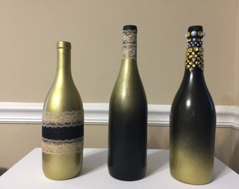 Black and Gold shimmery wine bottle decor