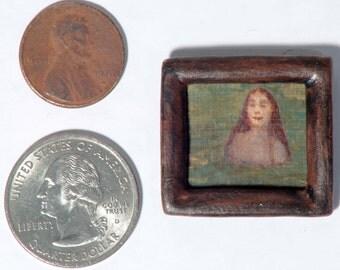 Tiny handmade original dollhouse acrylic painting - Water Portrait