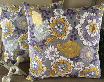 Purple and Gold Floral Set of 2 Decorative Pillows-Home Decor-Living Room-Bedroom-Handmade-17x17