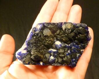 Deep Dark Blue Fluorite on White Quartz from Inner Mongolia