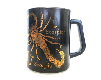 Scorpio Coffee Mug---Federal Glass---Vintage Milk Glass---Signs of the Zodiac