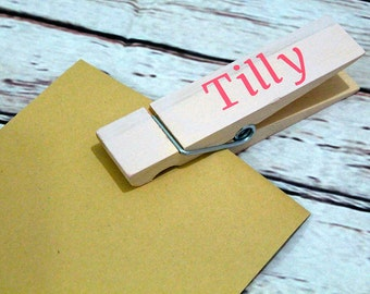 Large wooden personalised art display peg