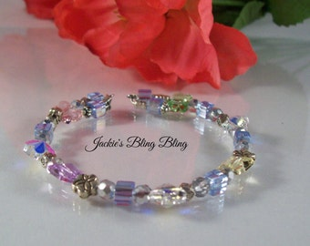 Girls butterfly and flower crystal beaded wire wrap bracelet