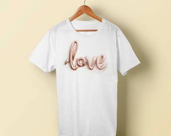 "T-Shirt - ""Love"" Women - Men - Polyester Tee Sleeve - FAST SHIPPING"