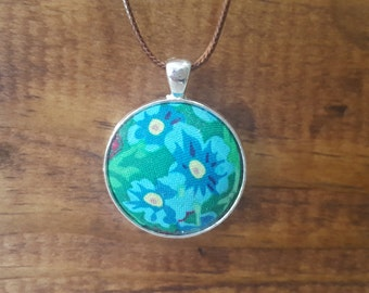 Blue Bloom Fabric Necklace