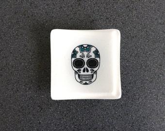 Sugar Skull Jewellery Dish - White/Black