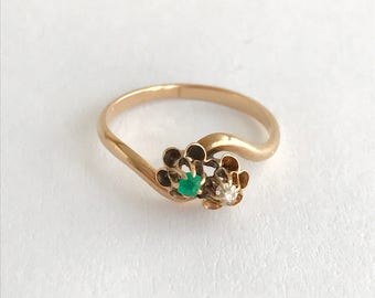 Victorian 'toi et moi' buttercup diamond and emerald 10k ring