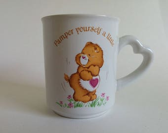 Vintage Care Bears Coffee Mug 1983 American Greetings Stoneware Pamper Yourself A Little Heart Handle Coffee Cup Care Bear Tenderheart