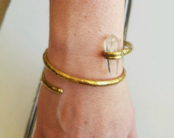 Brass Wrap Bangle Bracelet - Crystal Stone Bracelet - Statement Bracelet