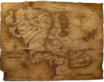 Leather Map of Middle Earth from Lord of the Rings, 80Middle-Earth map, The Hobbit / The Lord Of The Rings, Tolkien, Silmarillion