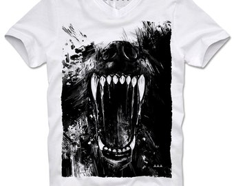 DOPEHOUSE T-Shirt Hell Hound Blood Bloodhound Church of Satan Satanism Dog Tee Teeth