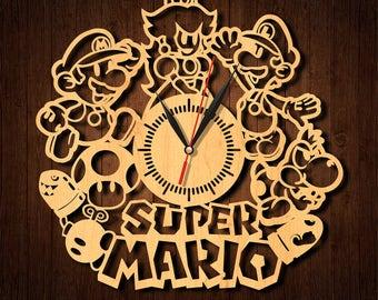 Super Mario clock, Super Mario wooden clock, HDF clock, Super Mario acrylic clock, wall clock, wood clock, home decor, Super Mario-1