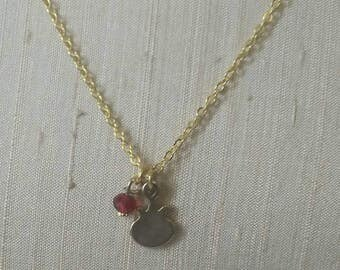 Little Gold Pomegranate with Red Ruby necklace