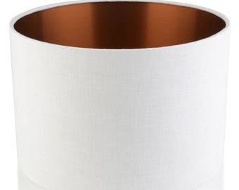 Leanne WHITE/COPPER  Linen Style Cylinder / Drum Lampshades / Pendant Shade / Table