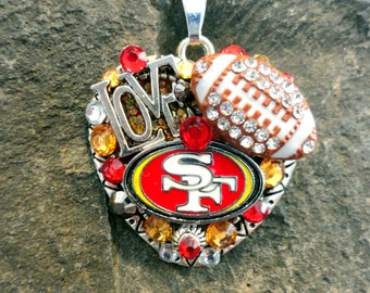 San Francisco 49ers Heart Pendant