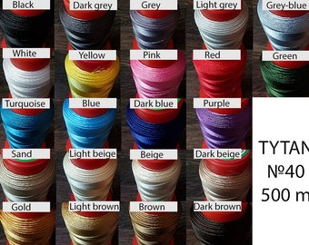 N40 thread for leather - Leatherwork thread strings - Polyester thread machine sewing stitching leather - Leather craft colored thread 500 m