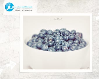 """Food Fine Art Photo, Food Wall Art, Food Photography, Modern Food Photo, Kitchen Decor - """"Blueberries in a bowl No. 1"""""""