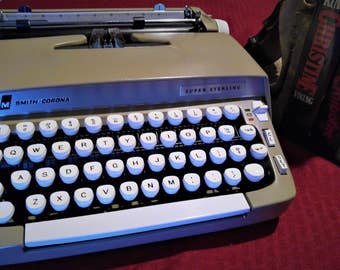 1960's Smith Corona Super Sterling Portable Typewriter **Working/Mint**