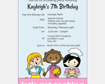 Cooking Party Invitation | Chef Party | Kids Birthday Party Invitation | African American Birthday Party Invitation | Multicultural Party