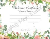 Commemorative Birth Certificate, Welcome Earthside, Born at Home, Floral, Newborn Footprint Keepsake, Nursery Art// New Mom Gift