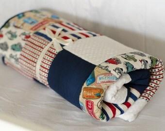 Patchwork toddler Quilt toddler Blanket baby boy