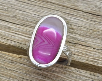 Estate Sterling Silver Ring With Pink Botswana Agate Gemstone 925 Jewelry