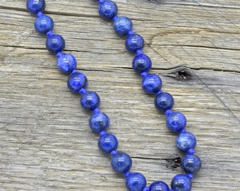 Estate Sterling Silver Lapis Lazuli Bead Necklace