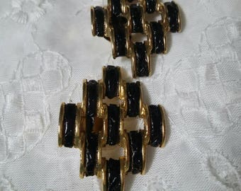 Black and gold vintage shoe clips