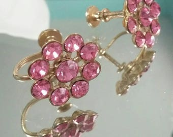 Sparkly Pink Rhinestone screw back earrings