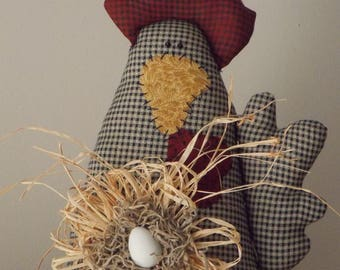 Barnyard, Fabric, Country Chicken Accent
