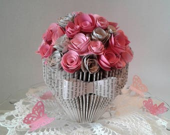 Book Sculpture,Altered Book Art,Paper Flowers,Paper Flower Bouquet,Book Page Roses,Book Art,Birthday Gift,Gift for Her,Roses