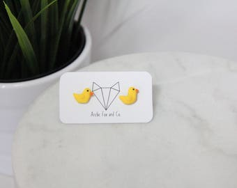 Duck Stud Earrings - Handmade Polymer Clay