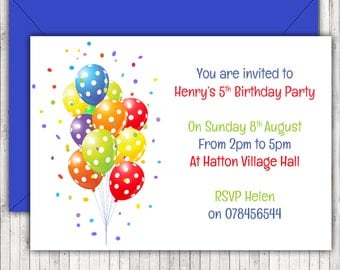 Personalised Birthday Party Invitations or Thank You Cards, Red, Blue & Green Balloons