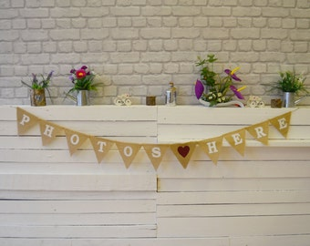 Photos Here Burlap Wedding Bunting Celebration Engagement Party Banner Bunting Decoration colorful hearts black white text