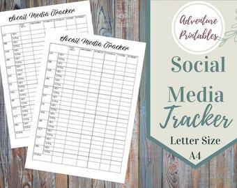 Social Media Tracker Printable Form, Social Media Marketing Planner, Marketing Plan, Social Media Management, Big Happy Planner