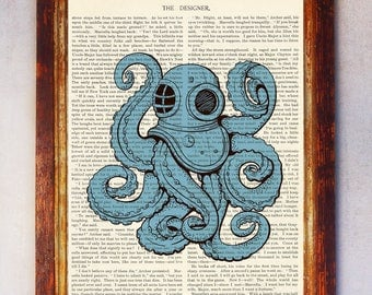 Blue Octopus Diver Book Page Art Print, Octopus Wall Art, Vintage Octopus Print, Octopus Illustration, Book Page Art, Octopus Poster