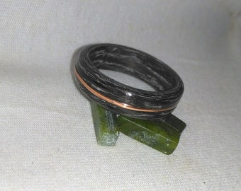 Gray Striped Ebony Copper Inlay Bentwood Ring