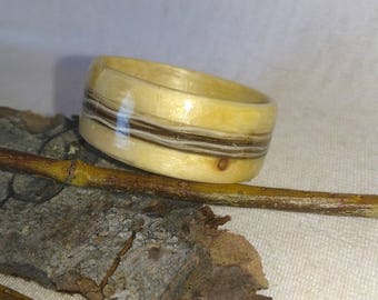 Moose Hair and White Spruce Alaskan bent wood ring