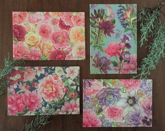 Flower Collage Postcard Set
