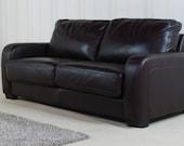 Designer Dark brown Leather 3 seater sofa bed (175)
