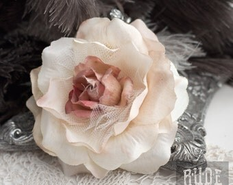 Ivory Hair Flower Clip, Hair Accessory, Hair Flower Clip, multi toned Hair Flower, Bridal Hair Clip, Bridal Hair Flower clip, Realistic Rose
