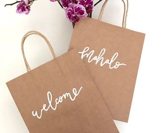 Custom Gift Bags, Wedding Welcome Bags, Thank You Gift Bags, Shower Gifts, Wedding Favors, Personalized Gift Bags, Hand Lettered, Kraft Bags